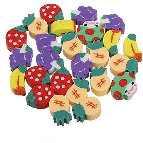 Caucho 50Pcs Fruit Borrador de lápiz Conjunto Fresa Kid niños juguete de regalo