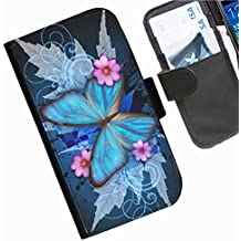 Hairyworm- Schmetterlinge Nokia Lumia 800 Leder Klapphülle Etui Handy Tasche, Deckel mit Kartenfächern, Geldscheinfach und Magnetverschluss.