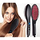 ISABELLA Professional Ceramic Hair Straightener Brush with Temperature Control for Women, hair straightener for women, hair straighteners, hair straightener electric brush (Black)