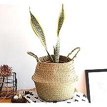 Caliente portátil de mimbre cesta de mimbre cesta de paja cestas tejidas a mano de flores al por mayor