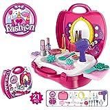 Hobnot 19pcs Kids Pretend Play Make Up Kit, Fashion Play Set,Toys Kids Beauty Salon Set With Hairdryer Lipstick Mirror, Make-up Box