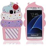Samsung Galaxy S7 Hülle Stoßfest Schutzhülle Case Sehr weich Silikon Gel Hübsch Design 3D Bunt Eiscreme Aussehen [ Passt perfekt ] [Bequemer Griff]
