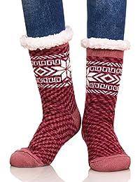 DUFUN Women Super Soft Snowflake Warm Fleece Lining Fuzzy Winter Slipper Socks