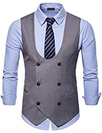e47d4c6372218 YCUEUST Elegante Chalecos Hombre Vestir Casual Negocio Boda Slim fit Traje  Blazers Vest