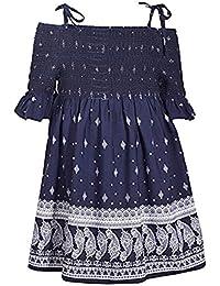 f2925e50abca Bonnie Jean Blue Halter Style Paisley Print Dress with Tie Shoulder Straps