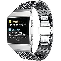 TopTen reloj deportivo ajustable banda de acero inoxidable correa de pulsera, pulsera de accesorios de repuesto para Fitbit Ionic Smartwatch, mujer, color negro, tamaño medium