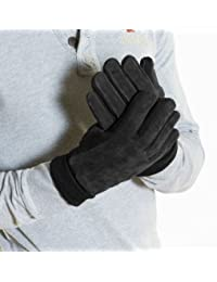 New Mens Real Suede Glove With Warm Thermal Lining & Knitted Sides & Cuff