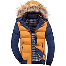 LaoZan Uomo Inverno Moda Giacca con cappuccio Slim Fit Cappotto invernale Parka M Giallo Blu
