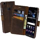 Huawei P10 Lite | Suncase Book-Style (Slim-Fit) Ledertasche Leder Tasche Handytasche Schutzhülle Case Hülle (mit Standfunktion und Kartenfach) antik coffee