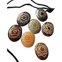 Heilung Kristalle Indien Reiki Chakra Steine mit Gravur Chakra Symbole, Set von 7 preisvergleich bei billige-tabletten.eu