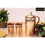 Crockery Wala And Company Set Of Single Copper Hammered Jug With Brass Knob And 2 Copper Hammered Glasses, Copper Hammered Jug With Brass Knob And 2 Copper Hammered Glasses Made Of 99.5% Pure Copper, Copper Water For Ayurvedic Health Benefits