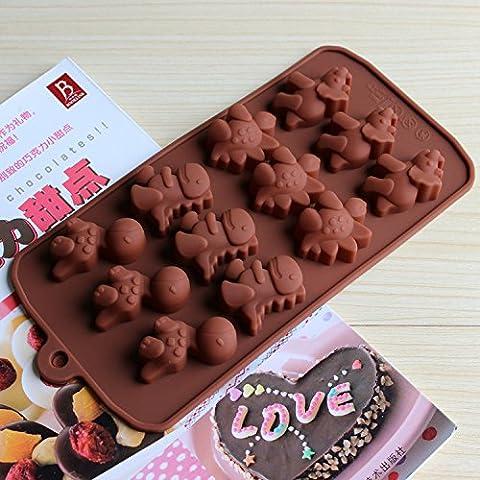 Diferentes dinosaurio tipo silicona Cake Chocolate Mold Jelly Hornear Moldes para pasteles Bakeware