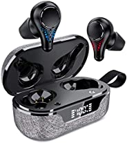 TWS Earphone, IPX7 Waterproof True Wireless Earbuds, Bluetooth 5.0 Wireless Headphones with Wireless Charging