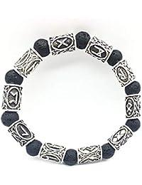 6167c6730c5f LEERAIN Pulsera con Cuentas Vikinga Negro VolcáNico Piedra Lava Pulsera  Viking Rune Pulsera Cuentas NóRdico JoyeríA