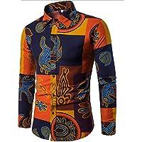 WULIFANG Impresión De Flores De Moda para Hombres Camiseta Clásica Versión Slim Retro Hombres Transpirable De Algodón Camisa De Manga Larga Naranja L