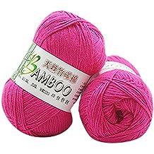 VDK Filato di lana in bambù naturale, gomitolo di cotone colorato uncinetto maglieria filato morbido (e)