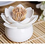 Adeeing Hot Chic Lotus Flower Cotton Bud Swab Holder, Small Q-Tips Toothpicks Case Box Storage Organizer Home Decor White
