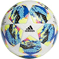 adidas Finale TT J350 Soccer Ball, Hombres, Top:White/Bright Cyan/Solar Yellow/Shock Pink Bottom:Collegiate Royal/Black/Solar Orange, 5