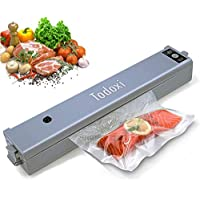 Vacuum Sealer Machine, Todoxi Portable Food Sealer Machine Compact Design Air Sealing System, Fresh Food Saver with 15 Pcs BPA Free Vacuum Bags - Grey