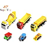 SuperToy Construction Vehicle - Dumper + JCB + Cement Mixer + Transport Truck + Garbage Truck Unbreakable ABS Plastic Friction Powered Kids Automobile Toy Set (of 6)