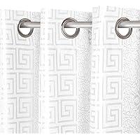 2x Cortinas Opacas de Ojetes con Estampado Gofrado con Brillo, Elegantes y Modernas para Ventanas de Salón Dormitorio Oficina, 100% Poliéster 220g/m² Resistente, 140x260cm, Color Blanco