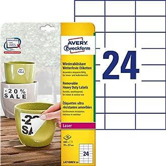 Avery Zweckform étiquette 70 x 37 mm résistant aux intempéries, WS 20blatt 480st ablã ¶ Sbar