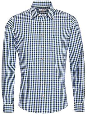 Almsach Trachtenhemd Florentin Slim Fit Zweifarbig in Blau und Dunkelgrün Inklusive Volksfestfinder