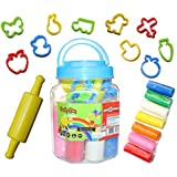 Color Buddy Clay with jar 8 Diffrent Colours and Small Roller 10 Cutter Moulds for Kids/Teens-Non Toxic