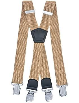 MIOBO Tirantes para hombre anchos. extra fuertes, 4 cm, con tres o cuatro clips, en forma de X o de Y, largos,...