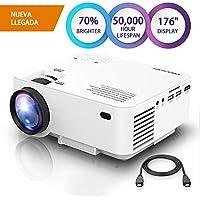 """DBPOWER Mini Beamer, 2200 Lumen HD 1080P LED Video Projektor mit 176"""" Display, 50.000 Lebensdauer, Heimkino Projektor kompatibel mit Amazon Fire TV Stick, HDMI/VGA/AV/USB/TF, Weiß"""