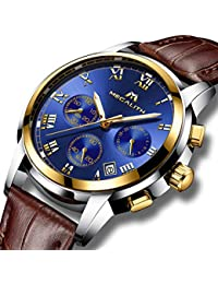 Relojes Hombre Reloje de Pulsera Deportivo Cronografo Impermeable Luminosos Analogicos Reloj para Hombre de Cuero Clasicos Lujo Cronómetro Día Fecha Calendario