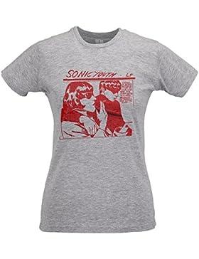 LaMAGLIERIA Camiseta Mujer Slim Sonic Youth LP Red Texture - T-Shirt Grunge Rock 100% Algodòn Ring Spun