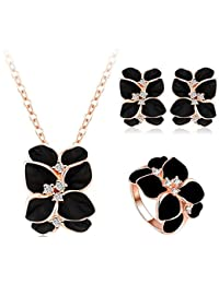 Yiwu Crystal BLACK,WHITE 18K ROSE GOLD METAL EARRING/CHAIN/PENDANT/RING Fashion Jewellery For WOMEN