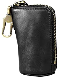 Key Case,Leather Coin Purse Unique Design Car Key Pouch【Large Capacity】Zipper Card Bag with Metal Hook and Keychain Holder for Men/Women - Black/Brown