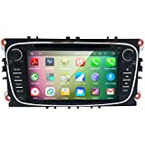 HIZPO Android 5.1 Lollipop Quad Core Car in Dash Radio Double Din Stereo Headunit for Ford Focus Mondeo S-max C-max Galaxy Support GPS Navigation Mirror-link SWC DVD Radio 3G Wifi Cam-in OBD2 DAB+