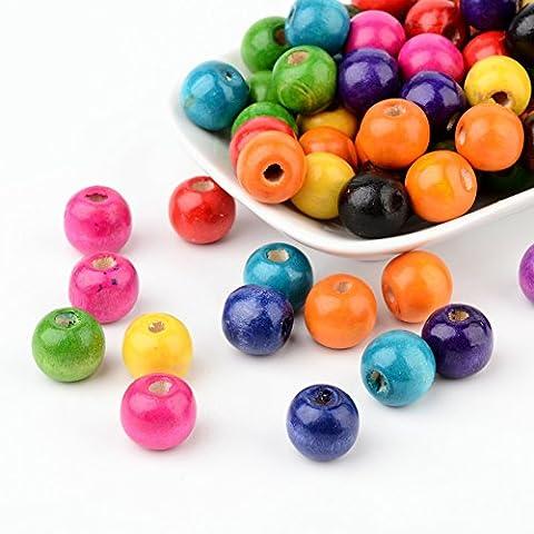 Pandahall 100PCS Perline Legno Perline Colorate Rotonde, Regalo per Bambini Ragazzi, Senza Piombo, Colore Misto, 14x13mm, Foro: 4mm
