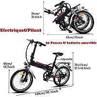 aceshin Vélo Electrique Femme Homme 20 E BIKE Mode France Cyclisme LED 7 vitesses arrière Frein Batterie Li-on 25-35 km/h