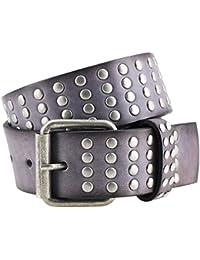 LINDENMANN- cinturón de cuero cinturones de tachas, las señoras / de hombres del arte de gris 1000-039 casual