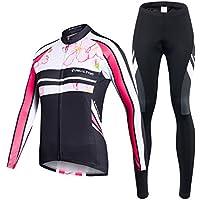 VIVOSUN Radtrikot Damen Set Fahrradbekleidung Frühling Herbst Fahrradtrikot Langarm und Radhose mit 3D Sitzpolster Rosa
