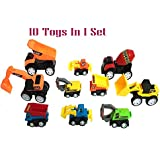 Emob Mini Set Of 10 Engineering Construction Pull Back Vehicles Truck Toys For Kids (Muticolor)