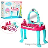 Babytintin Kids Girls Princess BatteryOperated Beauty Makeup Pretend Role PlaySet Toy With Piano And Mirror Durable Dressing Vanity Table Up With Music And Light Toys