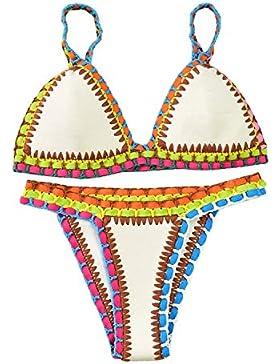 Sitengle Para Mujer Bikinis Conjuntos de Croché Dos Piezas Push Up Tejer Traje de Bañador de Neopreno Coloridos...