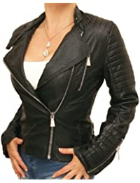 Blue Banana - Black Leather Effect Biker Jacket