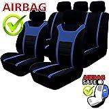 kmhsb203–Asiento Puf Set Negro/Azul de asiento con airbag páginas para Peugeot 307, 308, 406, 407, 607, 308, 508