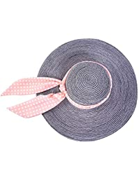 Sombrero de playa Sombrero de paja con cúpula floral para mujer Sombrero de  ala ancha Sombrero para el sol 50+… a2d42a70821