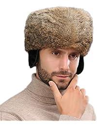 nihiug Chapeau Russe Ushanka Chaleur Coupe-Vent Hiver Masque De Patinage  Lei Feng Cap en Cuir Protecteur Oreille Épaissir Chaud Coton… b41f5ef459b