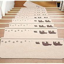 alfombrillas para escalones cojín esteras de escalera de la casa escalera de madera paso a paso estera cojín de la estera antideslizante de goma autoadhesiva de forma gratuita ( Color : # 4 , Tamaño : One Piece )