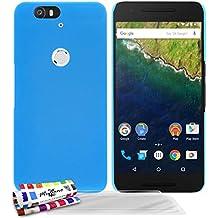 Muzzano F2655598 - Funda para Google / Huawei Nexus 6P + 3 protecciones de pantalla, color azul lago