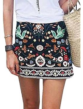 Minetom Donna Autunno Inverno Boho Ricamo Vita Alta A-Line Mini Gonna Vintage Stampa Floreale Svasato Short Skirt...