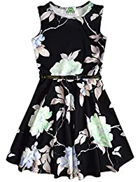 cfb725a09d8de Girls Dress Floral Print Skater Style Dresses with Belt | Perfect Cute Kids  Dress for Occasion, Party and Casual Wear |…